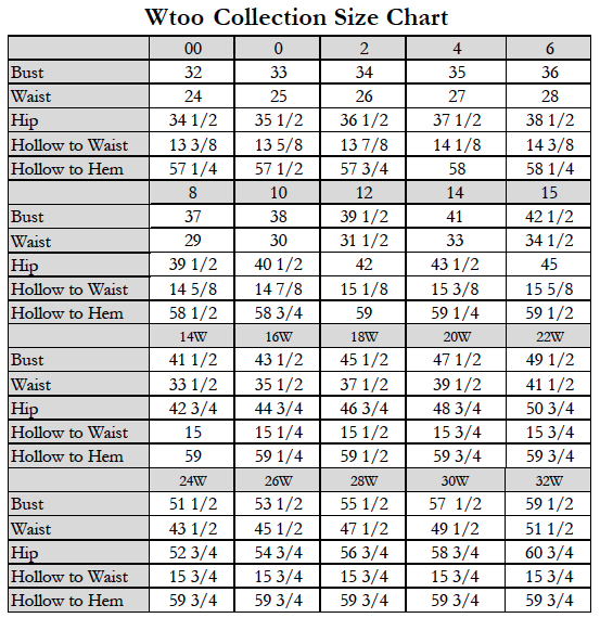 Wtoo bridesmaid dresses size chart for Wedding dress size guide